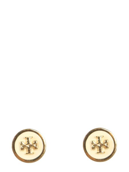 Tory Burch - Brass Earrings With Studs And Lacquered Logo