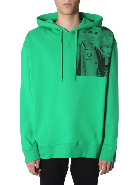 Fred Perry X Raf Simons - Hooded Cotton Sweatshirt With Printed Shoulder