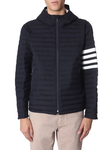 Thom Browne - Down Jacket With Hood In Wool Twilla Super 120s