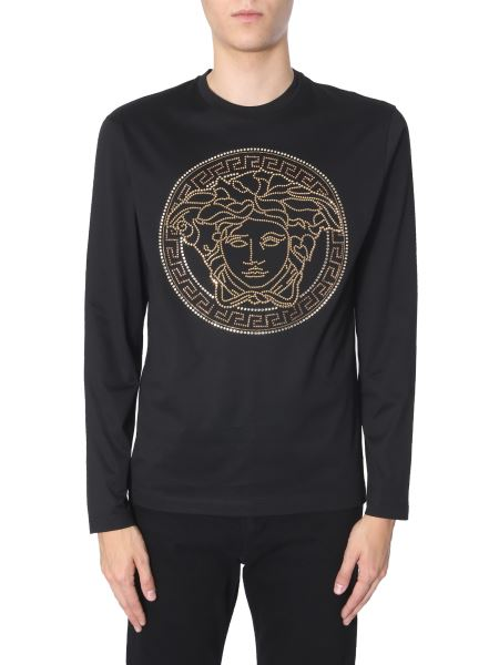 Versace - Long-sleeved Cotton T-shirt With Crystal Medusa Logo