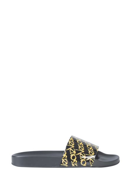 Versace - Slide Leather Sandal With Logo Print