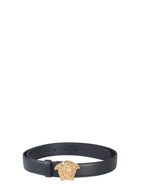 Versace - Leather Belt With Medusa Logo