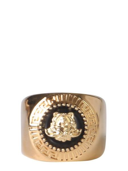 Versace - Polished Ring With Metal Medal
