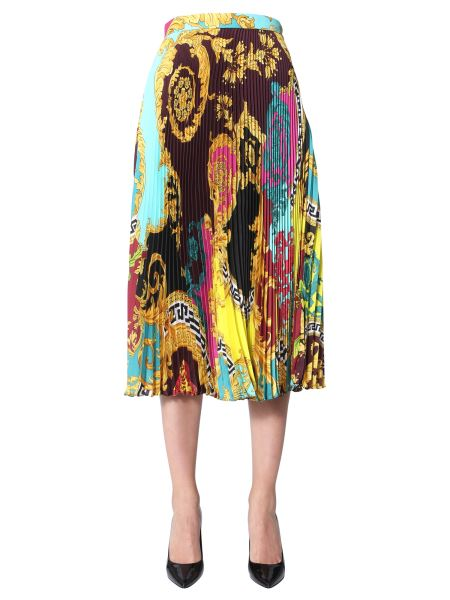Versace - Pleated Midi Skirt With Print