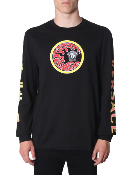 Versace - Round Neck Cotton T -shirt With Long Sleeves