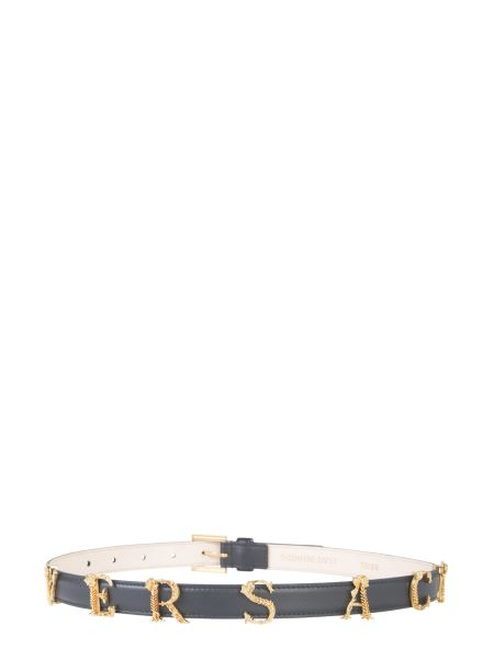 Versace - Leather Belt With Logo Letters