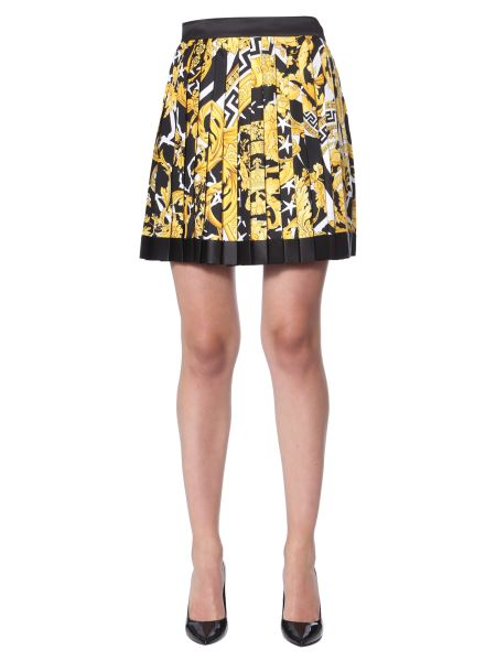 Versace - Pleated Silk Skirt With Baroque Print