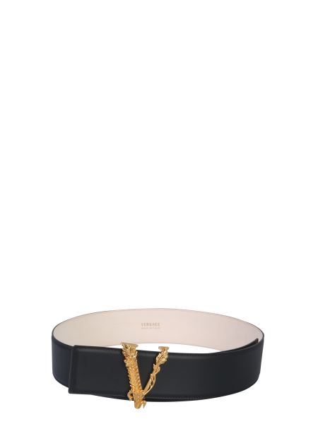 Versace - Leather Belt With V Buckle