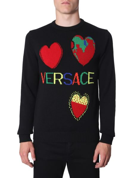 Versace - Crew Neck Wool Jersey With Logo Inlays
