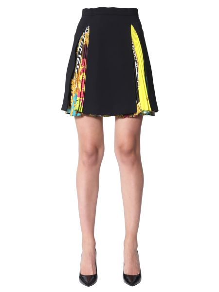 Versace - Pleated Skirt With Baroque Voyage Print