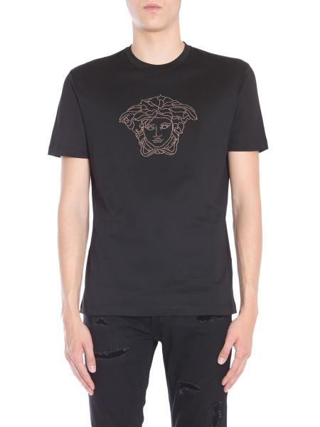 Versace - Round Neck Cotton T-shirt With Medusa Crystal Head Embroidery