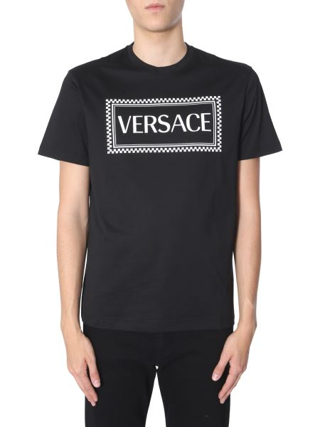 Versace - Cotton T-shirt With 90s Logo Print
