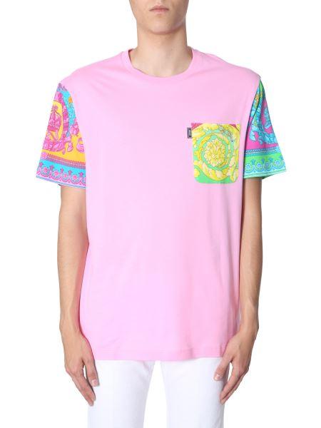Versace - Round Neck Cotton T-shirt With Baroque Inserts