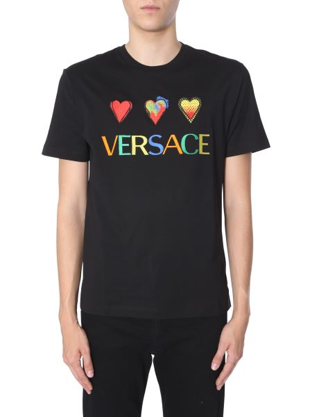 Versace - Round Neck Cotton T-shirt With Embroidered Logo
