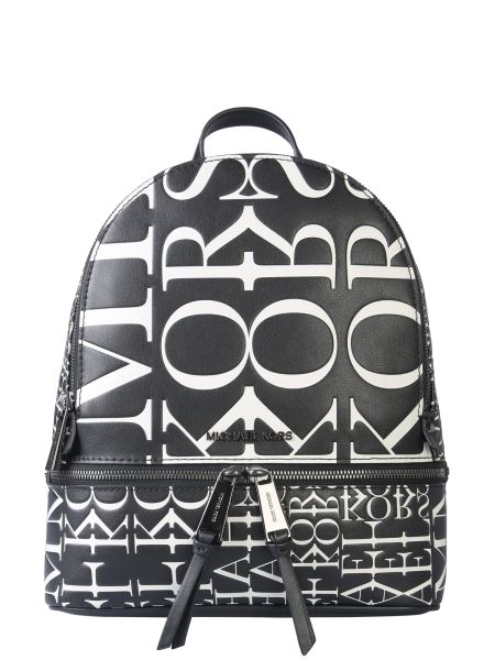 Michael By Michael Kors - Medium Rhea Zip Leather Backpack With Newspaper Effect Logo Print
