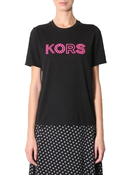 Michael By Michael Kors - Cotton T-shirt With Studded Logo
