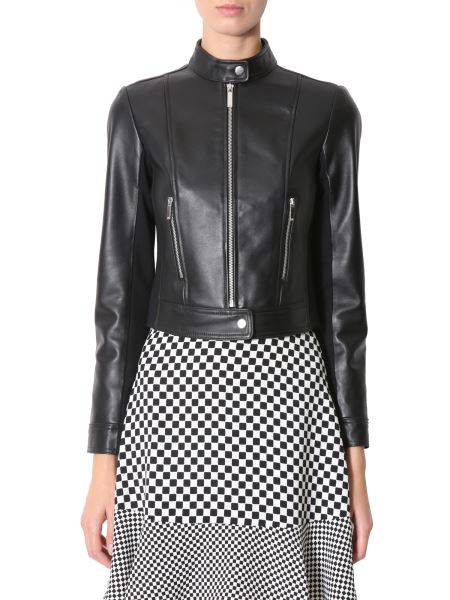 Michael By Michael Kors - Leather Jacket With Jersey Details