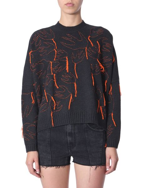 Mcq Alexander Mcqueen - Crew Neck Sweater With Swallows Embroidery