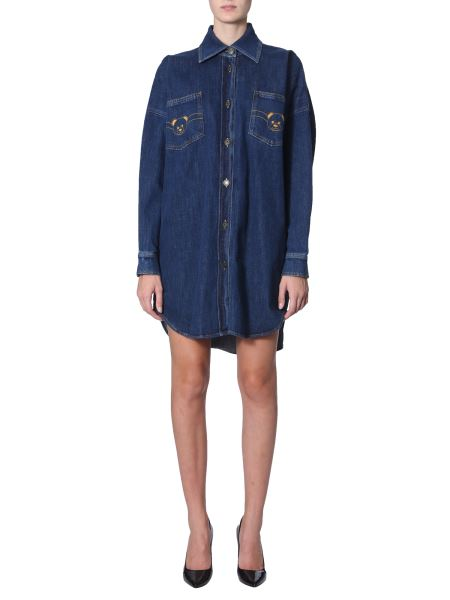Moschino - Cotton Denim Dress With Embroidered Teddy Bear