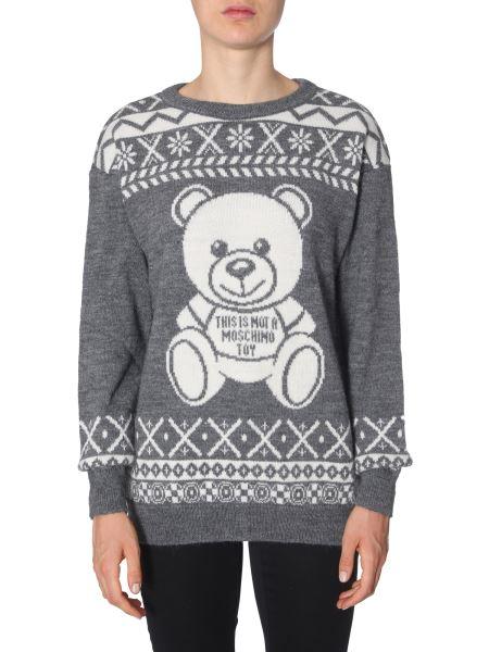 Moschino - Fair Isle Teddy Bear Crew Neck Alpaca Sweater