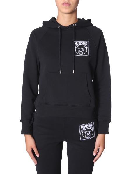 Moschino - Hooded Cotton Sweatshirt With Teddy Label