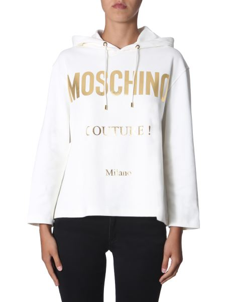 Moschino - Hooded Cotton Jersey Sweatshirt With Interlock Logo