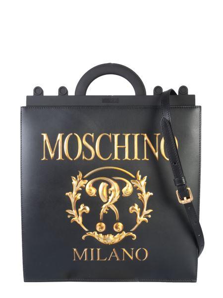 Moschino - Mini Leather Roman Double Question Mark Shopper Bag