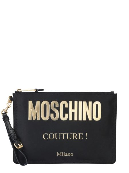 Moschino - Technical Fabric Clutch With Logo Print