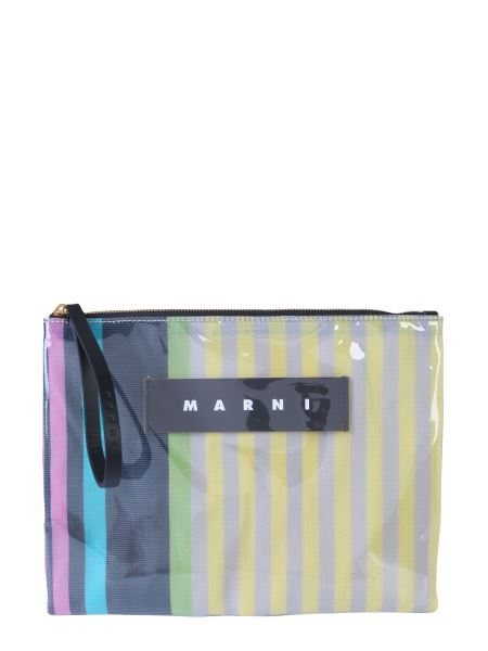 Marni - Pvc Clutch And Canvas With Logo
