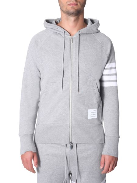 Thom Browne - Cotton Hooded Sweatshirt With Zip
