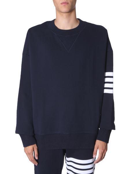 Thom Browne - Round Neck Cotton Sweatshirt With Stripe Detail