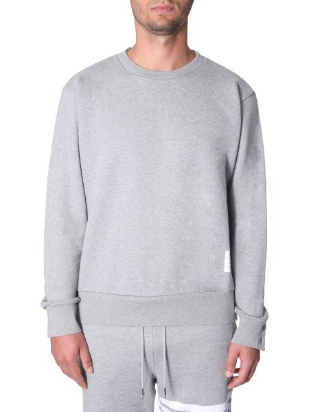 Thom Browne - Crew Neck Cotton Sweatshirt With Band Detail