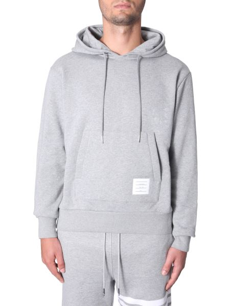 Thom Browne - Hooded Cotton Sweatshirt With Central Band