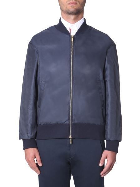 Thom Browne - Technical Fabric Bomber With Tricolor Band On Back