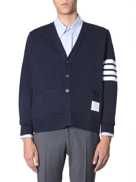 Thom Browne - Cotton Cardigan With Striped Detail