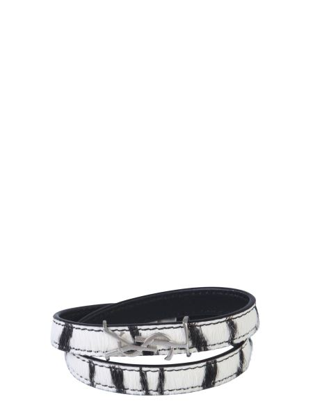 Saint Laurent - Opyum Leather Bracelet With Double Turn Lock In Zebra Pony Effect