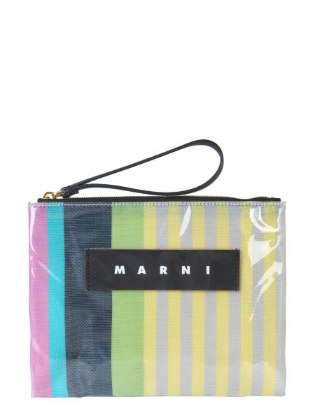 Marni - Small Glossy Grip Striped Polyamide Pouch