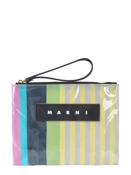 Marni - Pochette Glossy Grip Small In Poliammide Rigato
