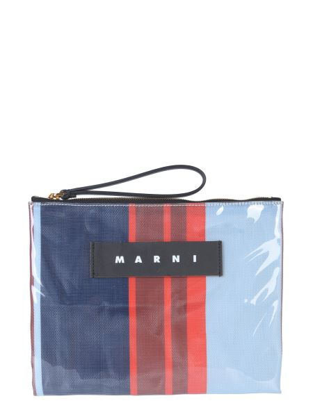 Marni - Glossy Grip Striped Polyamide Pouch