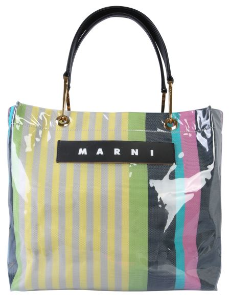 Marni - Glossy Grip Polyamide Striped Shopping Bag