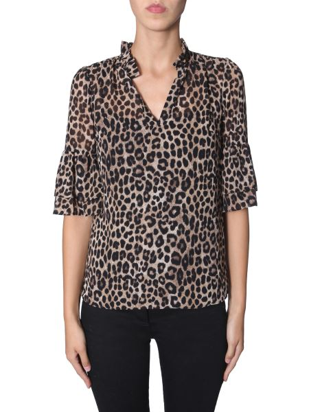 Michael By Michael Kors - Georgette Top With Rouches And Leopard Print
