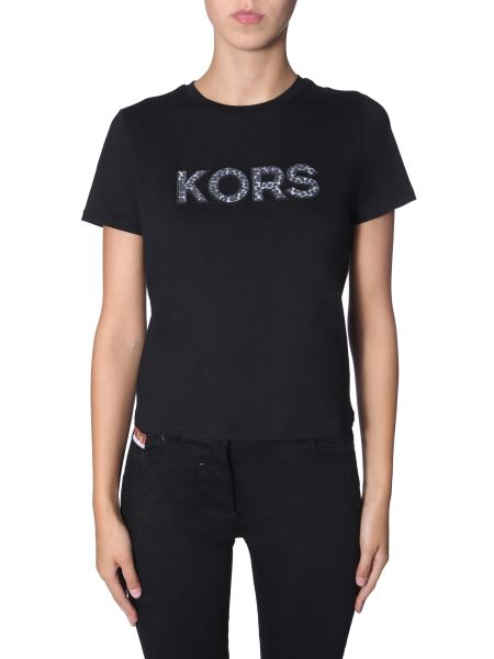 Michael By Michael Kors - Round Neck Jersey Cotton T-shirt With Leopard Logo
