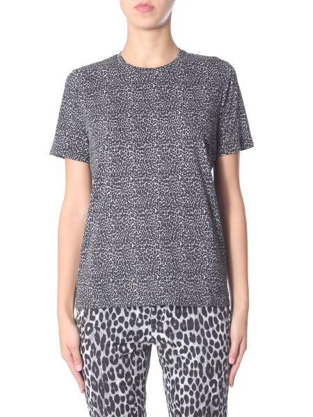 Michael By Michael Kors - Leopard Printed Round Neck Cotton T-shirt