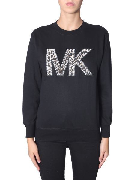 Michael By Michael Kors - Round Neck Cotton Sweatshirt With Logo And Studs