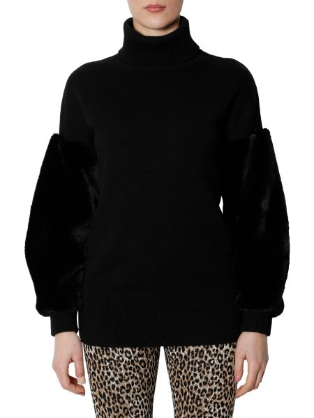 Michael By Michael Kors - Woolen High Neck Sweater With Fur Sleeves