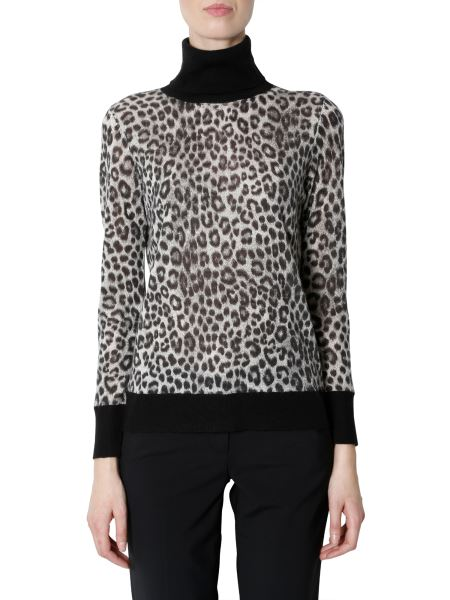 Michael By Michael Kors - High Neck Sweater With Leopard Print
