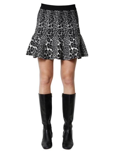 Michael By Michael Kors - Leopard Print Knitted Mini Skirt