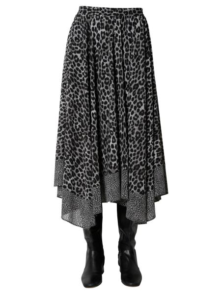 Michael By Michael Kors - Georgette Pareo Skirt With Leopard Print