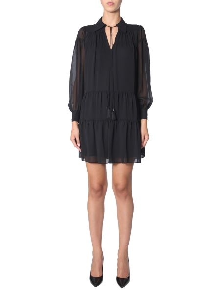 Michael By Michael Kors - Georgette Dress Decorated With Frill