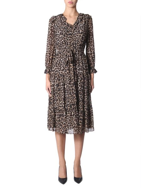 Michael By Michael Kors - Georgette And Leopard Print Volant Dress